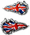Long Pair Ripped Torn Metal Design With Union Jack British Flag Motif External Vinyl Car Sticker 120x70mm each